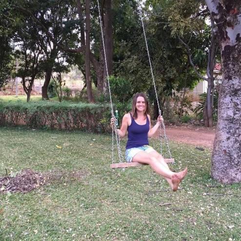 Swing in her garden