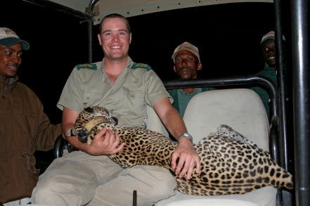 Villiers with a darted leopard